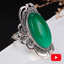 S925 Unique Designer Fine Antique Rings Emerald Big Luxury Women Handmade Natural Chalcedony moldavite peridot Jade