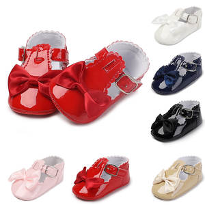 Shoes Toddler PU for Newborns 6-Color Sneakers Anti-Slip Soft-Sole Bowknot Baby-Girl