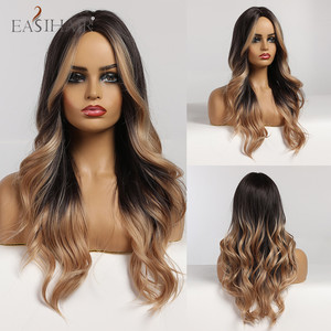 EASIHAIR Long Body Wave Wigs Ombre Black Brown Blonde Synthetic Wig Cosplay Middle Part Natural Heat Resistant Wig for Women