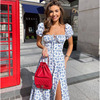 Tobinoone Elegant low cut vacation Dresses Women Casual Floral Print party dress lace up Puff Sleeve Side Slit Midi Dress Lady 4