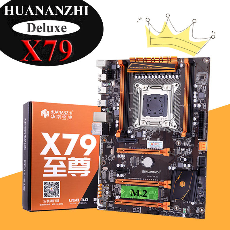 Discount HUANANZHI Deluxe X79 Motherboard With M.2 Slot 4 DIMMs 3*PCI-E X16 Slots 2 SATA3.0 Ports Support 4*16G 1866MHz Memory