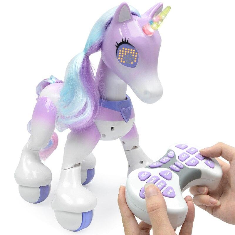 Игрушечная модель единорога, электрический умный робот с дистанционным управлением, сенсорная индукция, электронная обучающая игрушка для