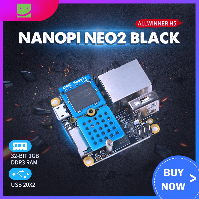NanoPi NEO2 Black All Zhi H5 Development Board Quad Core 64-bit A53 Gigabit Network Ubuntu With Metal Case With EMMC Module
