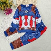 New Pajama set Children Clothing Cotton Cartoon Hulk Superhero Iron Man Costume Baby Girls Captain America Kids Sleepwear boys