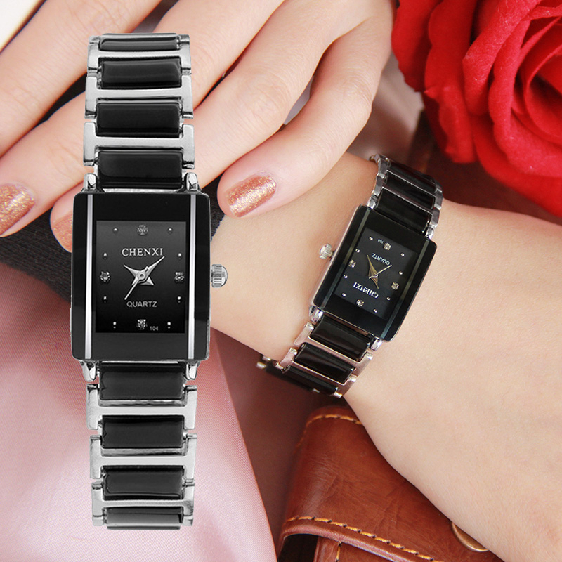 CHENXI Brand Lady Watch Elegant Black Ceramics Simple Minimalism Small Narrow Quartz Casual Watch Woman Rhinestone Wristwatch