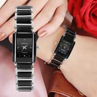 CHENXI Brand Lady Watch Elegant Black Ceramics Simple Minimalism Small Narrow Quartz Casual Watch Woman Rhinestone Wristwatch