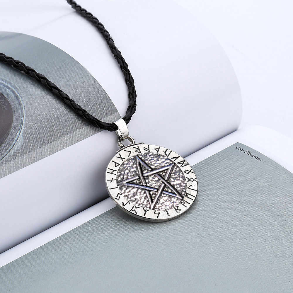 Retro gift Women men Pendant Necklace rope chain Large Rune Nordic Viking Pentagram Jewelry Wiccan Pagan Norse freeshipping