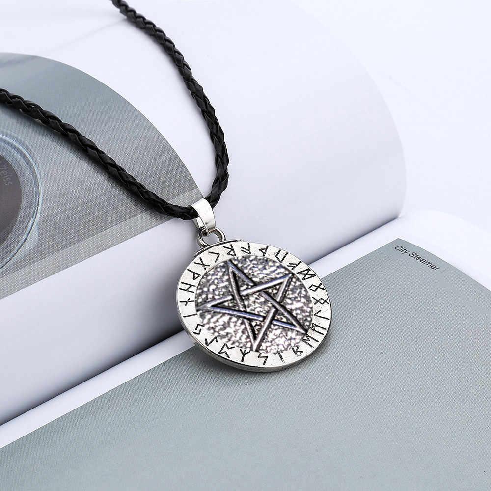 Prezent retro kobiety mężczyźni wisiorek sznur naszyjnika łańcuch duży Rune Nordic Viking Pentagram biżuteria Wiccan Pagan Norse darmowawysyłka