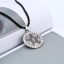 Retro gift Women men Pendant Necklace rope chain Large Rune Nordic Viking Pentagram Jewelry Wiccan Pagan Norse freeshipping(China)