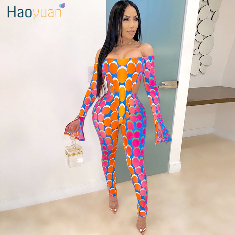 HAOYUAN Sexy Two Piece Set Summer Clother for Women Festival Matching Sets Off Shoulder Bodysuit Pant Suits 2 Piece Club Outfits