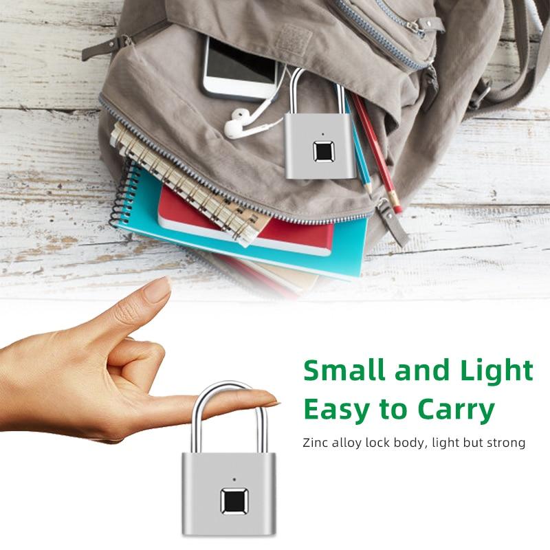 H29ef628c03eb4b2787025c0084108f79f Thumbprint Door Padlocks Rechargeable Door Lock Fingerprint Smart Padlock Quick Unlock Keyless USB