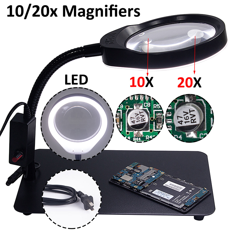 Desk Magnifying Glass With Led Lights Support Lamp Electronic illuminated Magnifier For Reading Phone Repair LoupemagnifyingDesk