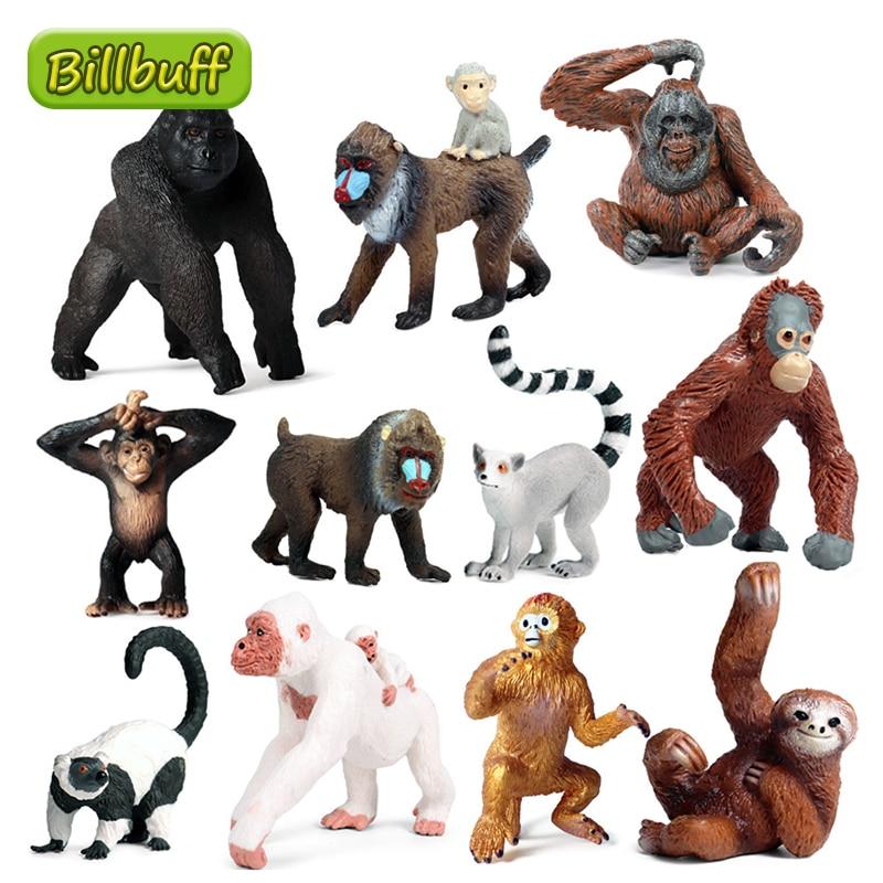 Simulation Wild Animal PVC Monkey Orangutan Model Action Figure Collection Miniature Cognition Educational Toy for children Gift