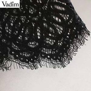 Image 5 - Vadim נשים בציר תחרה עיצוב חולצה ארוך שרוול ראפלס לראות דרך חולצה נקבה אופנתי חולצות blusas LB632