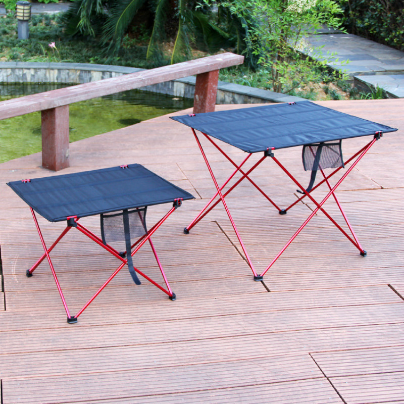Furniture Tables Outdoor Portable Foldable Table Camping Patio Picnic Aluminium Alloy Folding Desk Kamp Tablo Red image