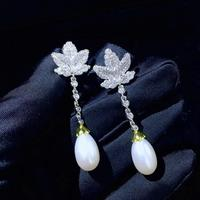 plant natural fresh water pearl drop earring 925 sterling silver with cubic zircon leaf maple fashion women jewelry daily wear