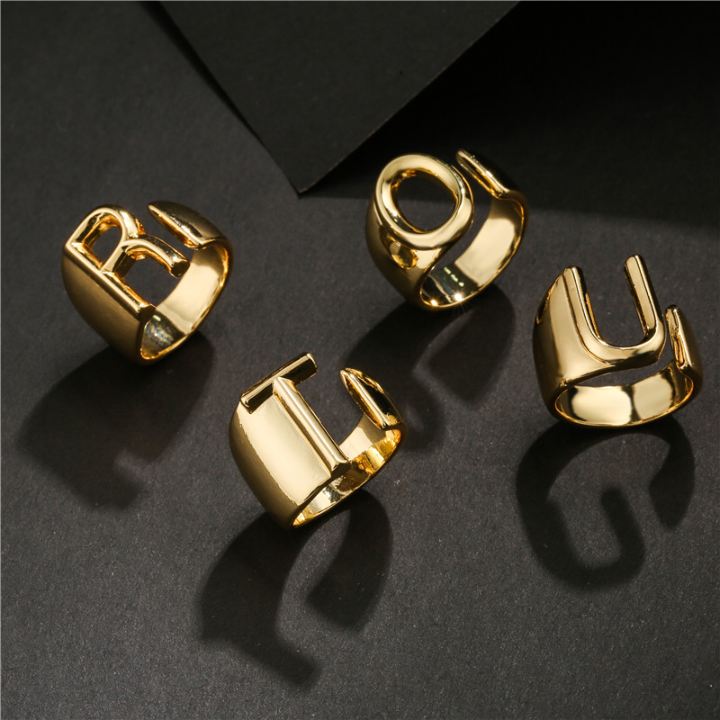 Hollow A-Z Letter Gold Color Metal Adjustable Opening Ring Initials Name Alphabet Female Party Chunky Wide Trendy Jewelry