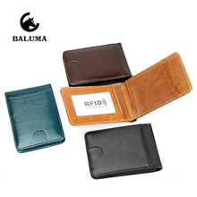 Genuine Leather Bifold Slim Wallet Men Money Clip Business Card Holder RFID Women Travel Business Passport Credential Holder