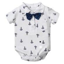 Infant Romper Anchor Outwear Jumpsuit Newborn Boy Kids Cotton Iron Short Baby Top Strap