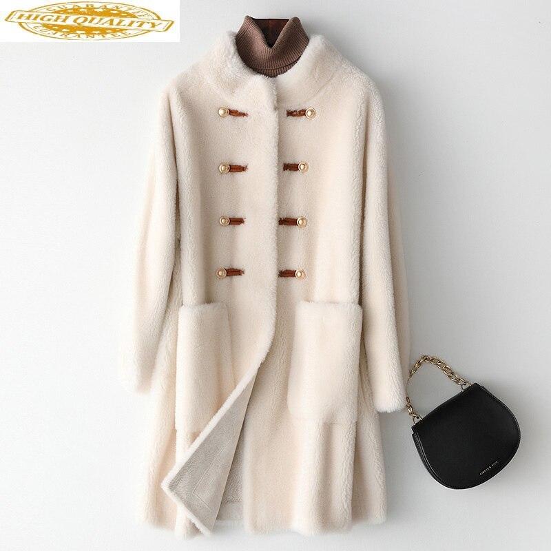 AYUNUSE 100% Wool Jacket Winter Real Fur Coat Women Long Sheep Shearing Fashion Fur Coats And Jackets Women 2020 Y622 KJ3556