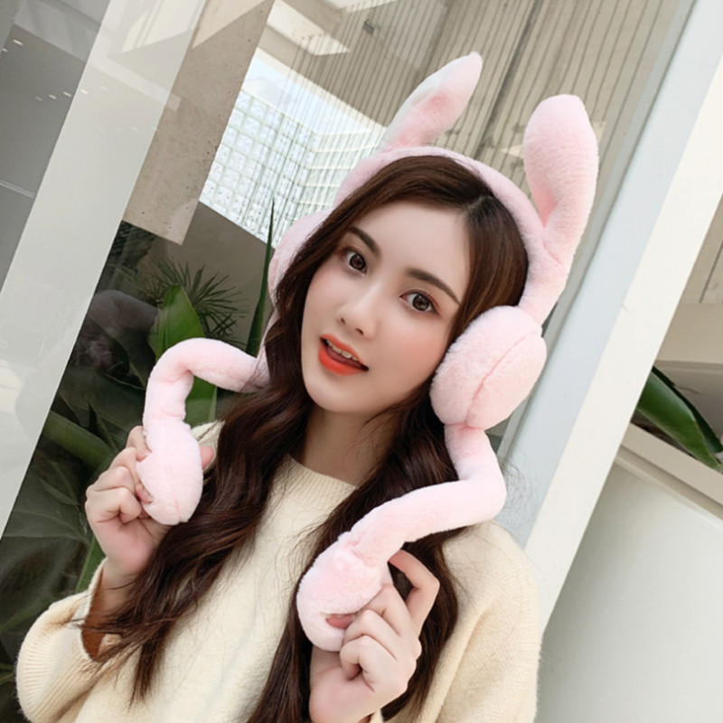 Cute  Kids Ear Muffs Unisex Rabbit Ears Hairy Foldable Winter Earmuffs Winter Windproof Ear Warmer Moving Earmufuffs  Rabbit Ear