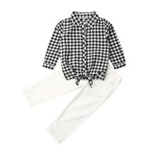 2019 New 2PCS Toddler Kids Baby Girl Clothes Set Shirt Denim Pants Trousers Plaid Outfit Autumn Girls Plaid Shirt White Pants(China)