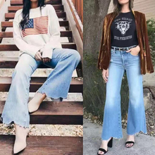 Ladies flared pants high waist casual wild women jeans