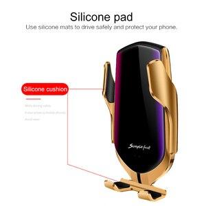 Image 3 - R1 スマートセンサー車のワイヤレス充電器空気ベント電話ホルダーハンズフリーワンタッチ自動クランプ IR インテリジェントクレードルクランプ