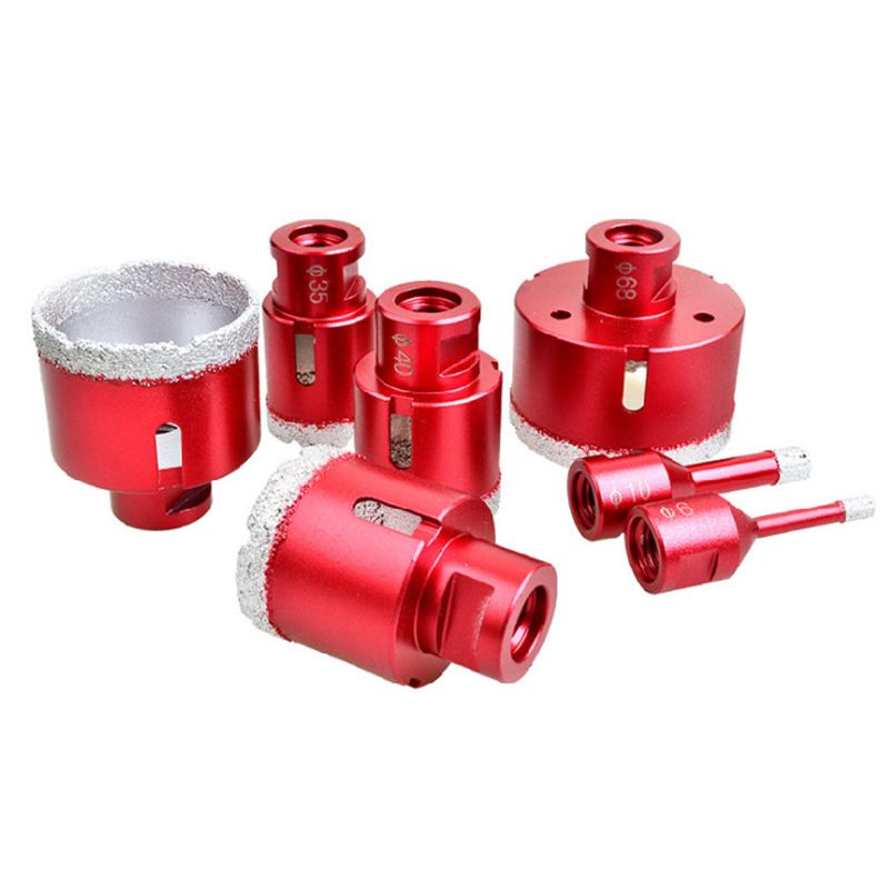 6-75mm M14 Vacuum Brazed Drill Bit High Hardness Hole Saw Cutter For Marble Tile Red