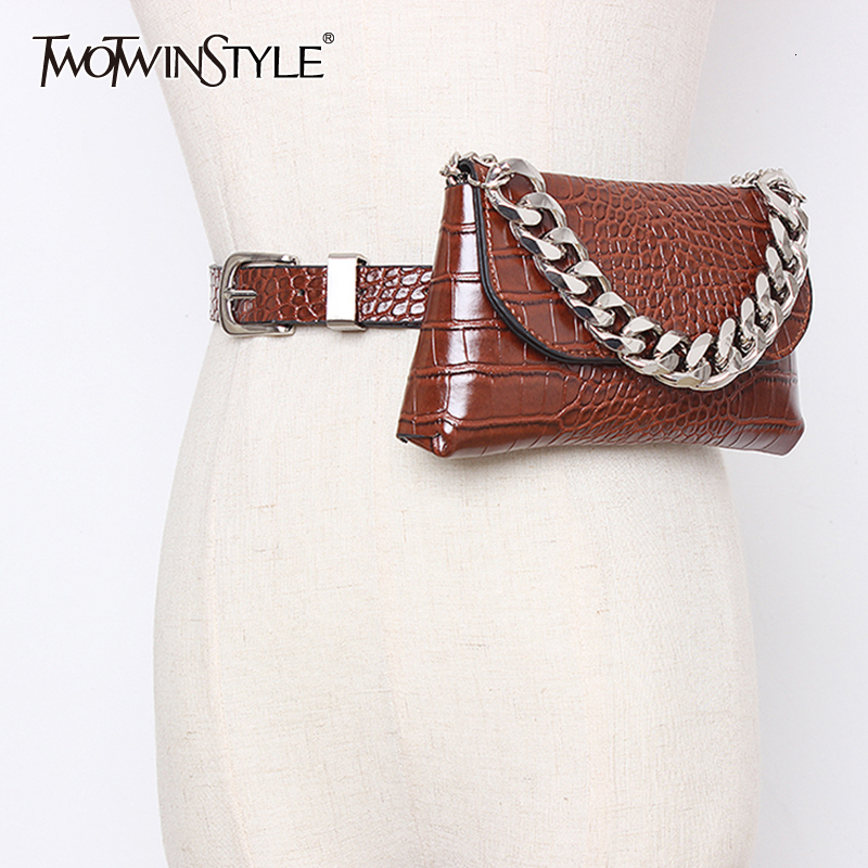 TWOTWINSTYLE Vintage Striped Synthetic Leather Women's Bags Patchwork Chain Hit Color Bag For Female Fashion Autumn 2020 Tide