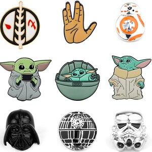 Эмаль из мультфильма «Звездные войны», значок на рюкзаке, Mandalorian Master Yoda, броши, модный отворот, булавка, рюкзак, сумки, значок, подарки