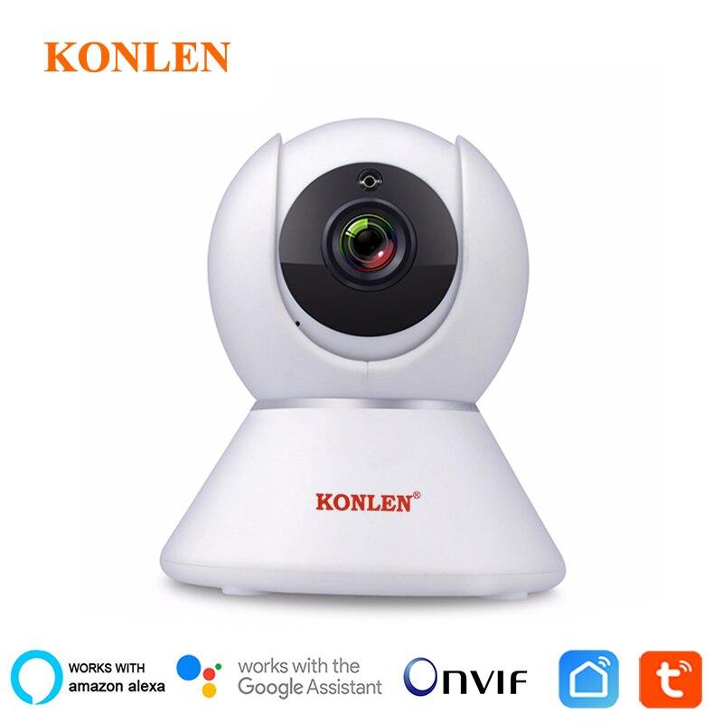 Konlen tuya câmera ip wifi inteligente app 1080 p hd cctv onvif noite vigilância de vídeo de segurança sem fio google casa alexa compatível
