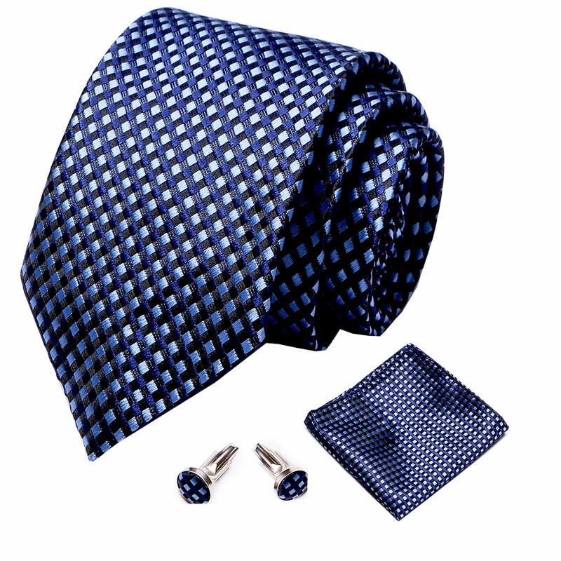 Купить 100% шелк 75 см клетчатый галстук бабочка белый нагрудный платок