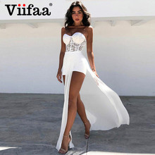 Dresses Women Romper Viifaa Strapless Sweetheart-Neck Split Elegant Off-Shoulder Lace Bodycon