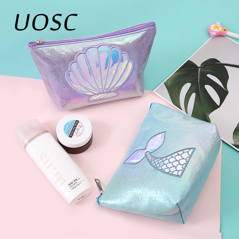 UOSC Cute Mermaid Tail Cosmetic Bag Large Capacity Organizer Portable Travel Case Make Up Brush Pouch Embroidery Makeup Bags