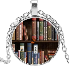 2020 Hot Creative Retro Book Time Crystal Glass Convex Round Pendant Necklace Clothing Sweater Chain Jewelry недорого