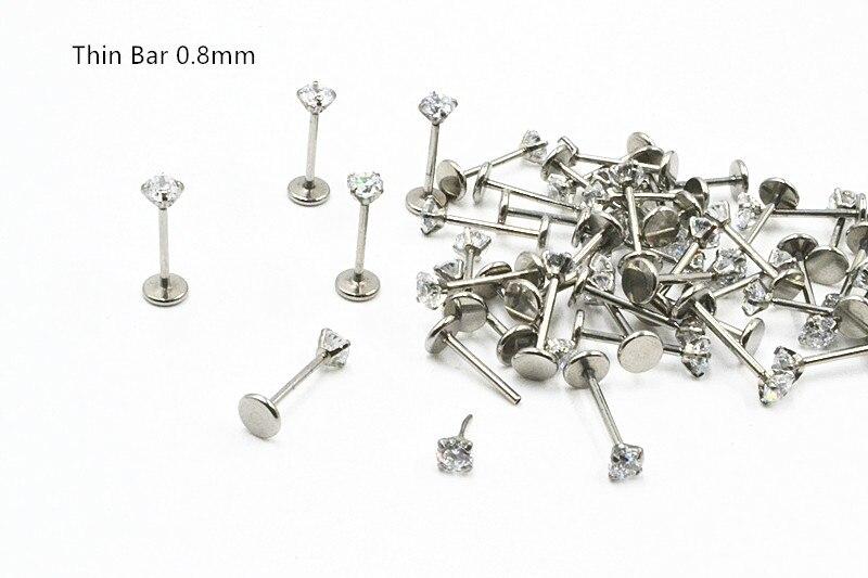 50pcs Body Jewelry 20G Internally threaded Lip Morne Rings Earrings Stud CZ Cartilage Helix Tragus Piercings Body Jewelry