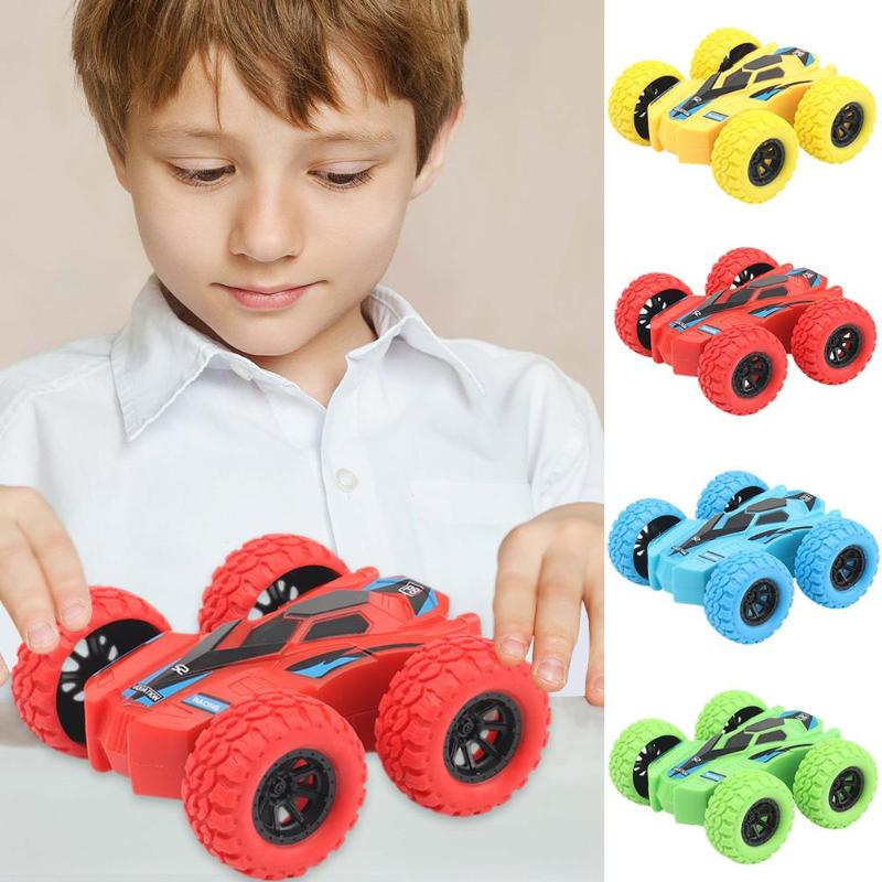 Inertia Four-Wheel-Drive Model Car Off-Road Vehicle Double-sided Dump Acrobatic Climbing Children Simulation Tracks Gift 7.5X7cm