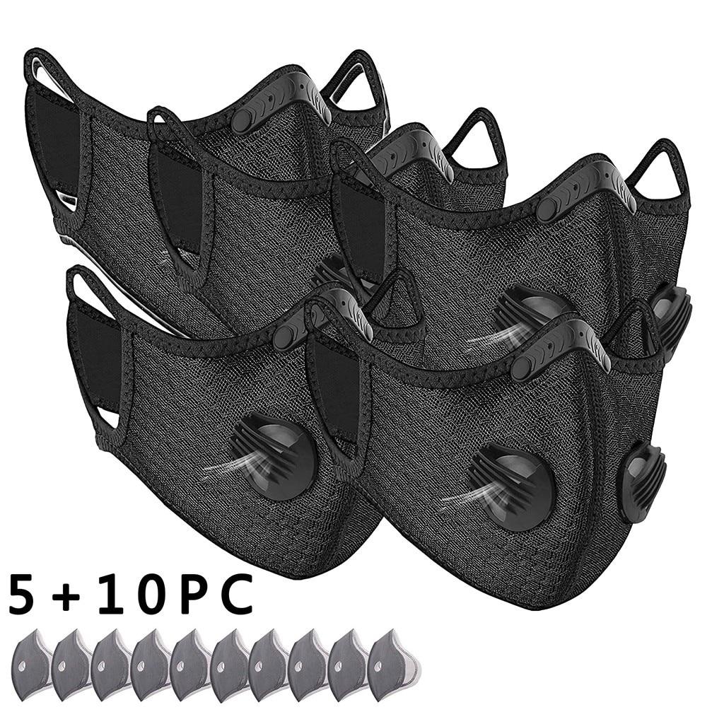 # H30 5 adet nefes spor yüz maskesi ile 10 adet aktif karbon filtre PM 2.5 Anti kirlilik koşu bisiklet yüz bakımı maskesi