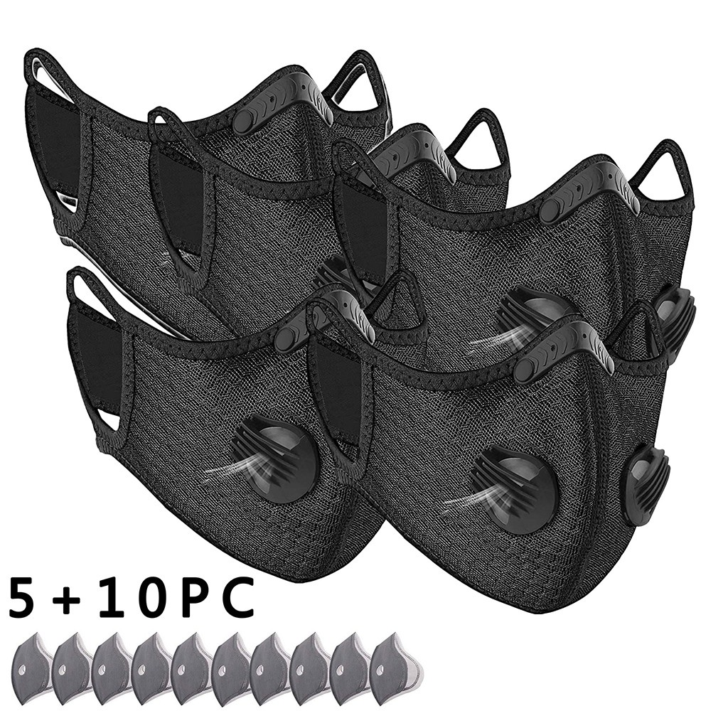 # H30 5 stücke Atmungsaktive Sport Gesicht Maske Mit 10 stücke Aktivkohle Filter PM 2,5 Anti-verschmutzung Lauf radfahren Gesichts Pflege Maske