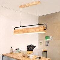 Nordic sala de jantar longo lustre moderno retangular sala estar lâmpadas led quarto barra simples lustre madeira maciça
