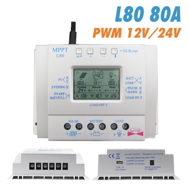 MPPT 80A Solar Laderegler 12V 24V Regulador Solar 80A für Max 48V Eingangs Solar Photovoltaik System lade USB 5V Ausgang