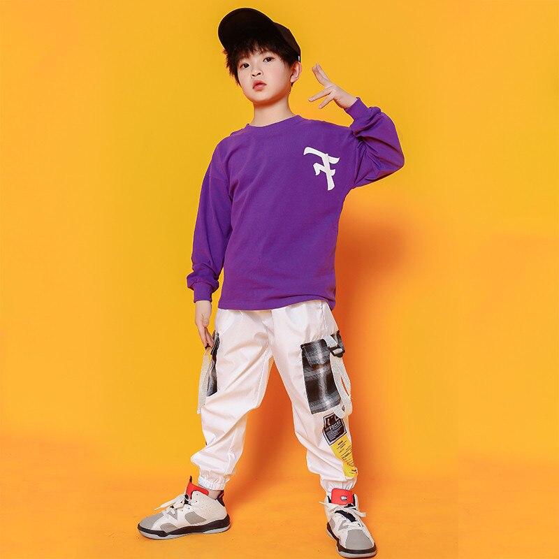 Boys Hip Hop Costumes Purple Shirts Fashion Ballroom Dance Costume Girls Jazz Clothes Set Loose Pants Dancewear for Children (6)