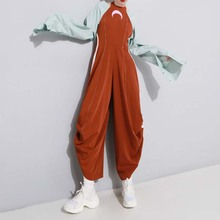 Four Seasons Harajuku Moon Pattern Women Jumpsuit Backless Ring Wrinkled Open-ba
