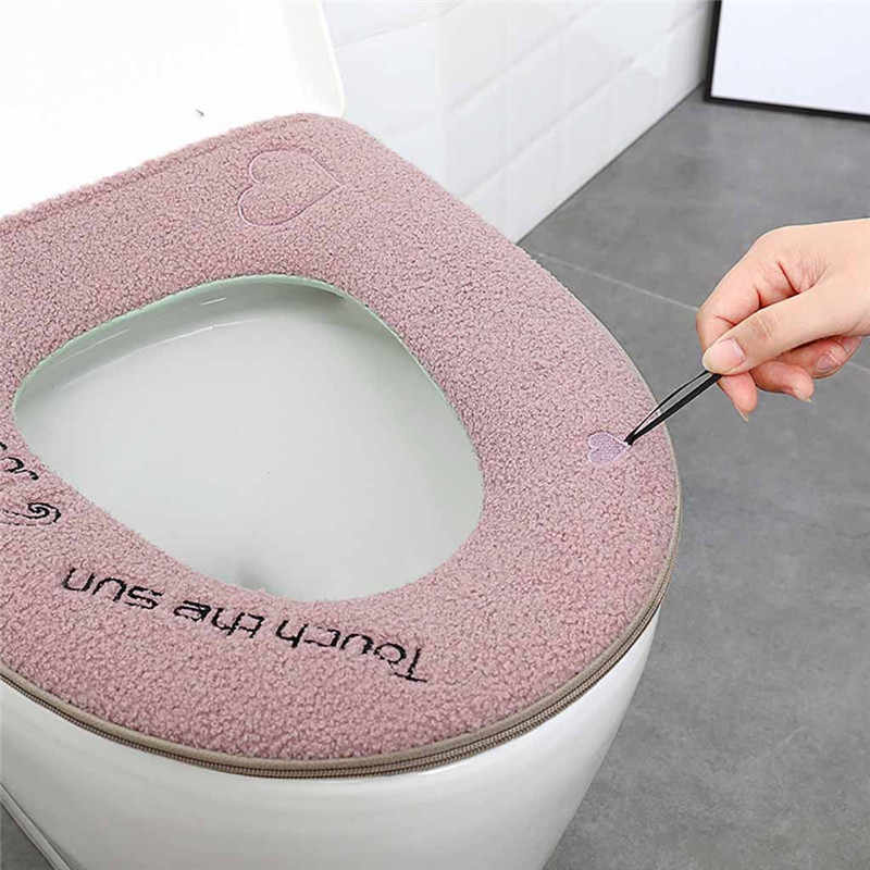 Hogar de invierno de felpa suave almohadilla de asiento de inodoro cubierta de asiento de inodoro cremallera con manija de limpieza de baño accesorios de inodoro hedity @ 5