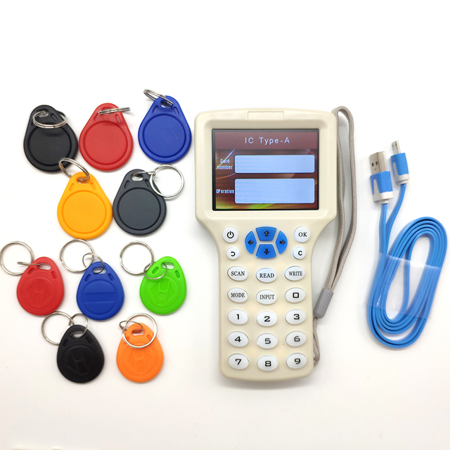 ภาษาอังกฤษ RFID NFC เครื่องถ่ายเอกสาร Reader Writer Cloner สำเนา 10 ความถี่ Programmer + 5Pcs 125 KHz EM4305 Keyfobs + 5 pcs 13.56 MHz UID KEY