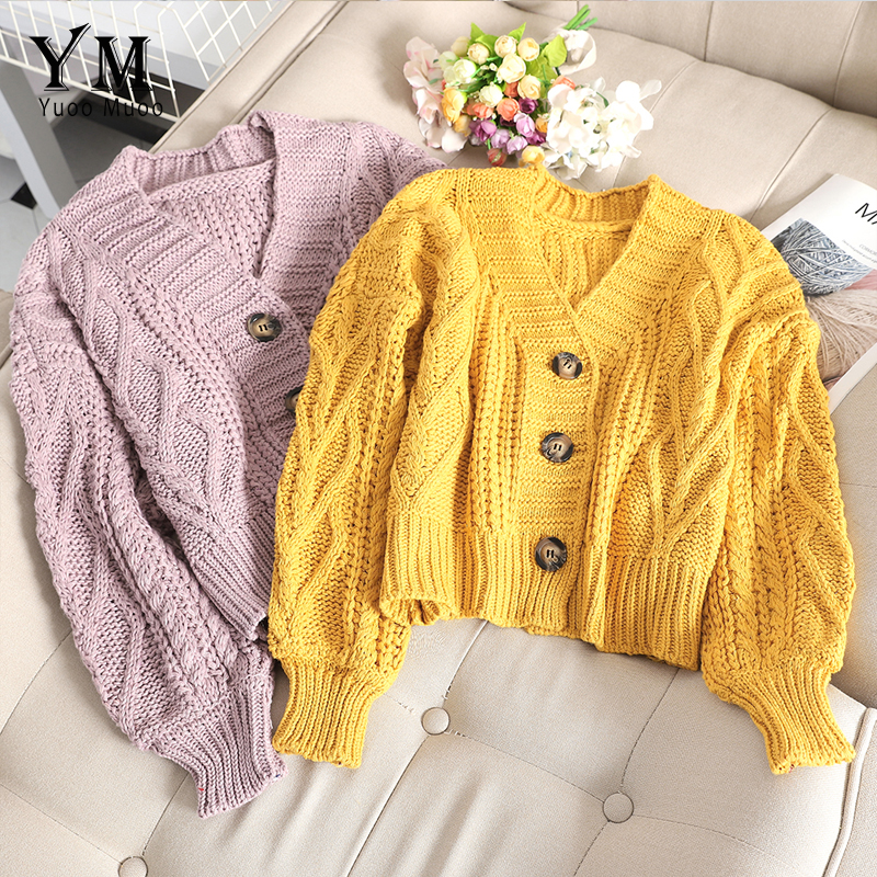 YuooMuoo Chic Women Cropped Cardigan Sweater Fall 2019 Knitwear Short Cardigan Girl Long Sleeve Twist Crochet Top Pull Femme