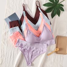 Women Bra Panties Set Sexy G-String Push Up Bra Crop Top Seamless Underwear Fitness Active Bra Thongs Female Top Lingerie Set cheap OllyMurs CN(Origin) One-Piece Padded Polyester Spandex Three Quarters(3 4 Cup) NONE Solid Non-adjusted Straps Non-Convertible Straps