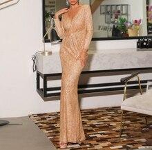 Sexy V Neck Split Sequins Mermaid Evening Dresses 2019 Elegant Party Gowns Glitter Gold Silver Burgundy Black Prom Dress