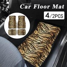 цена на 4pcs/set Leopard Print Car Floor Mats Universal Auto Car Floor Mats Set Auto Interior Styling Non Slip Car Foot Carpet Covers